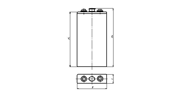 Габаритный чертеж аккумулятора в полимерном корпусе